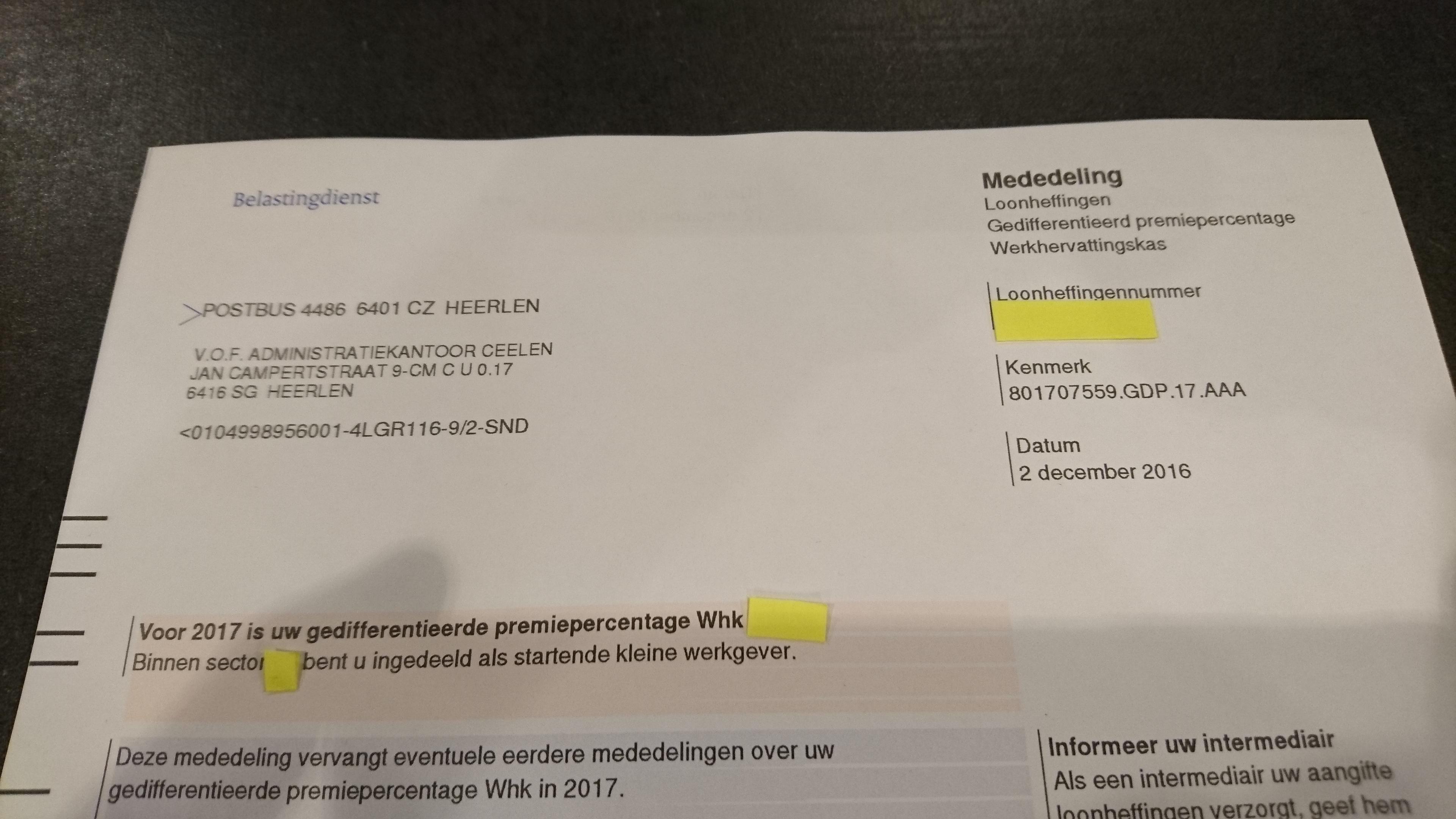 Brief Werkhervattingskas (Whk) 2017