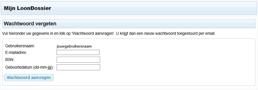 LoonDossier wachtwoord vergeten2