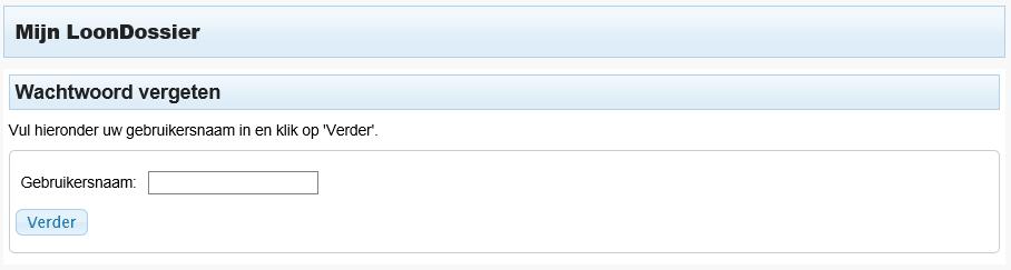 LoonDossier wachtwoord vergeten