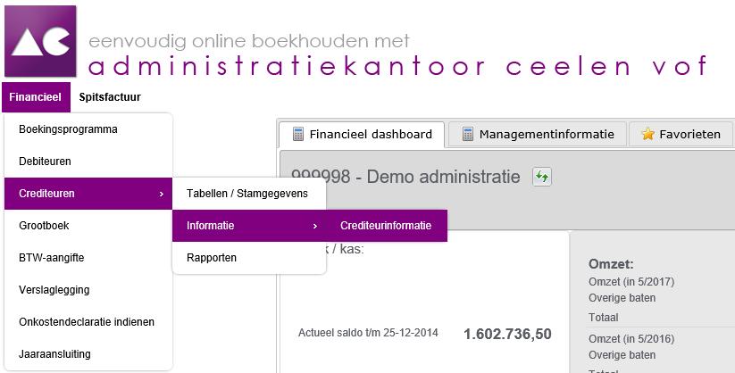 iMuis menu crediteurinformatie